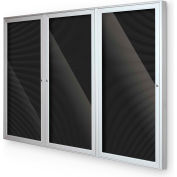 "Balt® Indoor Enclosed Letter Board Board Cabinet with 3 Hinged Doors 96""W x 48""H Silver"
