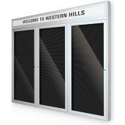 "Balt® Outdoor Headline Directory Board Cabinet with 3 Hinged Doors 96""W x 54""H Silver"