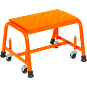 "Perforated 16""W 1 Step Steel Rolling Ladder 10""D Top Step - Orange - 118P-O"