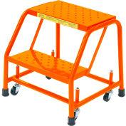 "Perforated 16""W 2 Step Steel Rolling Ladder 20""D Top Step - Orange - 21821PSU-O"