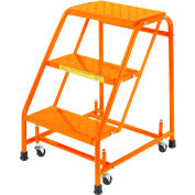 "Perforated 16""W 3 Step Steel Rolling Ladder 10""D Top Step - Orange - 318P-O"