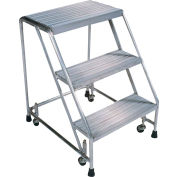 "Serrated 3 Step 18""W Aluminum Rolling Ladder 10""D Top Step, Spring Loaded - A3SG"