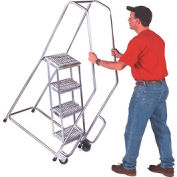 "4 Step 18""W Aluminum Tilt and Roll Ladder - Heavy Duty Serrated Grating"