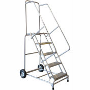 "6 Step 18""W Aluminum Wheelbarrow Ladder - Heavy Duty Serrated Grating"