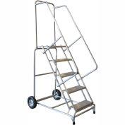 "6 Step 18""W Aluminum Wheelbarrow Ladder - Heavy Duty Serrated Grating"