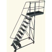 "Ballymore 10 Step Steel Cantilever Ladder -14"" Overhang, Perforated Tread"