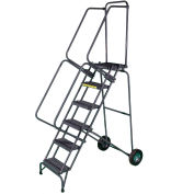 11 Step Steel Fold-N-Store Rolling Ladder Expanded Tread - FAWL-11X
