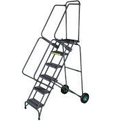 8 Step Steel Fold-N-Store Rolling Ladder Serrated Tread - FAWL-8G