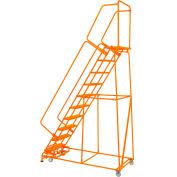 "Grip 24""W 9 Step Steel Rolling Ladder 21""D Top Step W/ Handrails Lock Step - Orange - FS093221G-O"