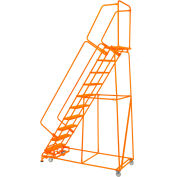"Perforated 24""W 9 Step Steel Rolling Ladder 21""D Top Step W/Handrails Lock Step Orange - FS093221P-O"