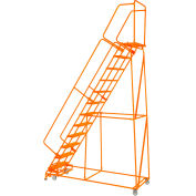 "Perforated 24""W 11 Step Steel Rolling Ladder 14""D Top Step W/Handrails Lock Step Orange -FS113214P-O"