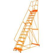 "Perforated 24""W 15 Step Steel Rolling Ladder 14""D Top Step W/Handrail Lock Step Orange - FS154014P-O"