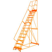 "Perforated 24""W 15 Step Steel Rolling Ladder 21""D Top Step W/Handrail Lock Step Orange - FS154021P-O"