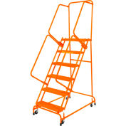 "Perforated 16""W 6 Step Steel Rolling Ladder 14""D Top Step W/ Handrails - Orange - FSH618P-O"
