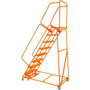 "Perforated 16""W 7 Step Steel Rolling Ladder 21""D Top Step W/ Handrails - Orange - FSH71821P-O"