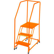 """Perforated 16""""W 3 Step Steel Rolling Ladder 20""""D Top Step W/ Handrails - Orange - H31820P-O"""