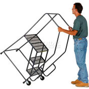 5 Step Steel Tilt & Roll Ladder Perforated Tread - HL-5NS-P