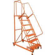 6 Step Orange Extra Heavy Duty Steel Rolling Ladder - Serrated Grating