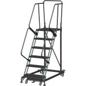 6 Step Extra Heavy Duty Steel Rolling Safety Ladder - Heavy Duty Serrated Grating