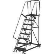 8 Step Extra Heavy Duty Steel Rolling Safety Ladder - Perforated Tread