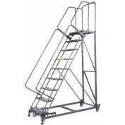 9 Step Extra Heavy Duty Steel Rolling Safety Ladder - Perforated Tread
