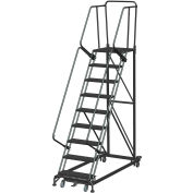 9 Step Extra Heavy Duty Steel Rolling Safety Ladder - Expanded Metal Tread