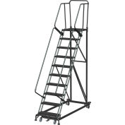 10 Step Extra Heavy Duty Steel Rolling Safety Ladder - Expanded Metal Tread