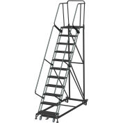 11 Step Extra Heavy Duty Steel Rolling Safety Ladder - Heavy Duty Serrated Grating