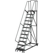 13 Step Extra Heavy Duty Steel Rolling Safety Ladder - Heavy Duty Serrated Grating