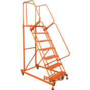 15 Step Orange Extra Heavy Duty Steel Rolling Ladder - Serrated Grating