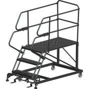 "3 Step Heavy Duty Steel Mobile Work Platform W/ Handrails - 24"" x 48"" Platform"
