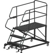 "3 Step Heavy Duty Steel Mobile Work Platform W/ Handrails - 36"" x 72"" Platform - SEP3-36-72PD"