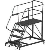 "4 Step Heavy Duty Steel Mobile Work Platform W/ Handrails - 24"" x 60"" Platform"