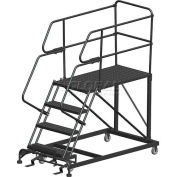 "4 Step Heavy Duty Steel Mobile Work Platform W/ Handrails - 36"" x 60"" Platform - SEP4-36-60PD"