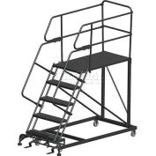 "5 Step Heavy Duty Steel Mobile Work Platform W/ Handrails - 24"" x 72"" Platform"