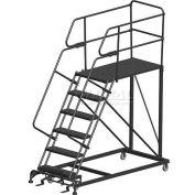 "6 Step Heavy Duty Steel Mobile Work Platform W/ Handrails - 24"" x 48"" Platform - SEP6-24-48PD"