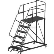 "6 Step Heavy Duty Steel Mobile Work Platform W/ Handrails - 36"" x 60"" Platform"