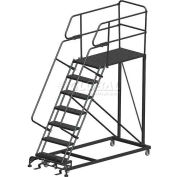 "7 Step Heavy Duty Steel Mobile Work Platform W/ Handrails - 24"" x 48"" Platform"