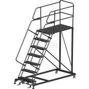 "7 Step Heavy Duty Steel Mobile Work Platform W/ Handrails - 24"" x 48"" Platform - SEP7-24-48PD"