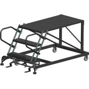 "4 Step Heavy Duty Steel Mobile Work Platform - 36"" x 72"" Platform"
