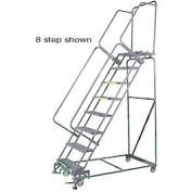 "5 Step 16""Wx46""D Stainless Steel Rolling Safety Ladder - Serrated Grating"