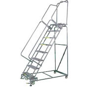 """8 Step 16""""Wx71""""D Stainless Steel Rolling Safety Ladder - Serrated Grating"""