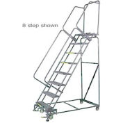 "10 Step 24""Wx76""D Stainless Steel Rolling Safety Ladder - Perforated Tread"