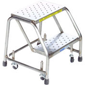 "2 Step 24""W Stainless Steel Rolling Ladder W/O Rails - Perforated Tread"