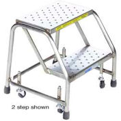 "3 Step 24""W Stainless Steel Rolling Ladder W/O Rails - Perforated Tread"