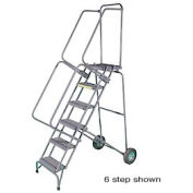 """5 Step 16""""W Stainless Steel Fold and Store Rolling Ladder - Heavy Duty Serrated Grating"""