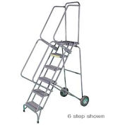 """7 Step 16""""W Stainless Steel Fold and Store Rolling Ladder - Heavy Duty Serrated Grating"""