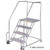 "5 Step 24""W Stainless Steel Tilt and Roll Ladder - Heavy Duty Serrated Grating"
