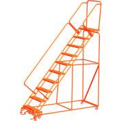 """10 Step 24""""W Steel Safety Angle Orange Rolling Ladder W/ Handrails, Serrated Tread - SW1032G-O"""
