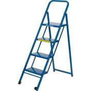 4 Step Thin Line Folding Step Ladder, 300 lb. Capacity, Blue - TL418